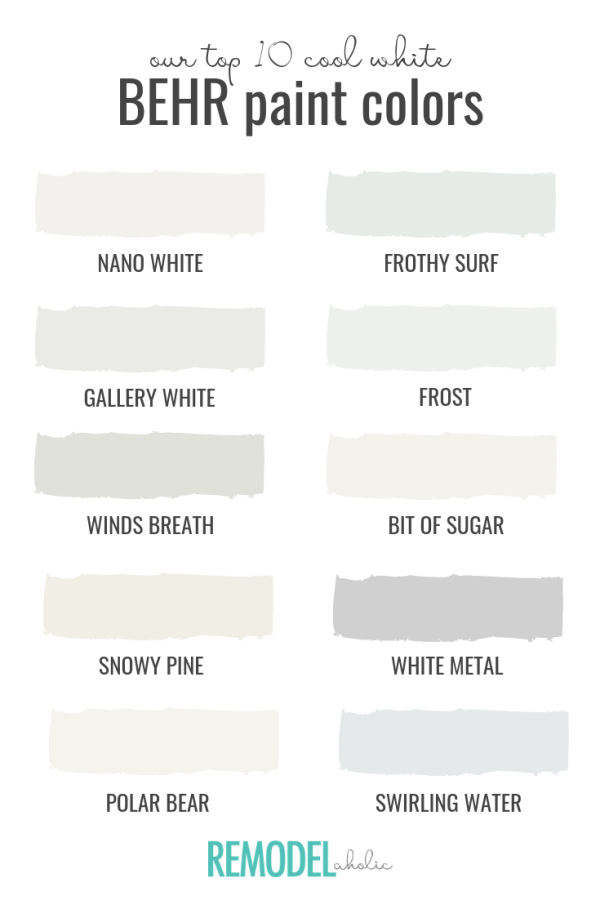 Top 10 Cool White Paint Colors   Designing a modern neutral space starts with the perfect white paint color! Try these. #remodelaholic #bestpaintcolors