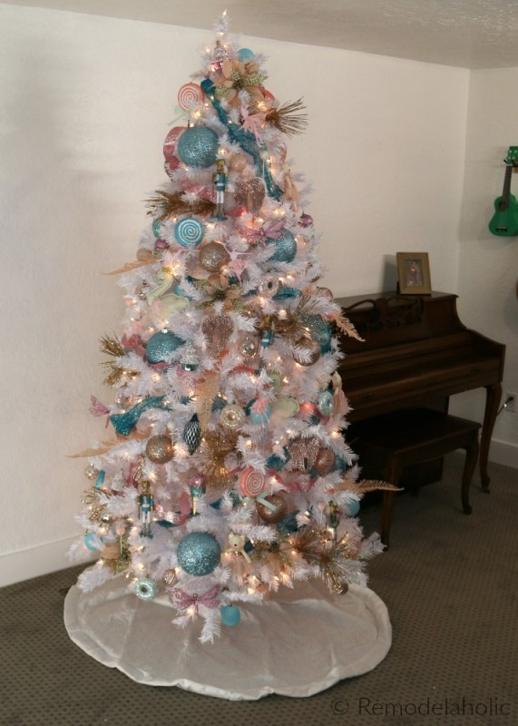 Cassity Remodelaholic White Christmas Tree Decorating Idea, Blue Pink And Gold Nutcracker Themed Tree With Swans Ballerinas Candy