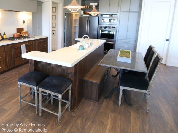 Modern Farmhouse Kitchen With Built In Bench, Matching Stools And Chairs, Arive Homes And Brandalyn Dennis Design, 2018 Utah Valley Parade Of Homes, Remodelaholic