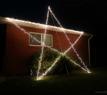 16 Foot Diy Giant Christmas Light Star For Outdoor Holiday Light Display #remodelaholic