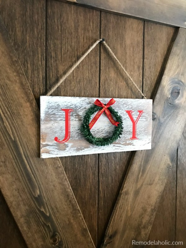 JOY Wreath Sign For Door Farmhouse Weathered Wood Sign Easiest Diy Chalkboard Signs For Christmas #remodelaholic
