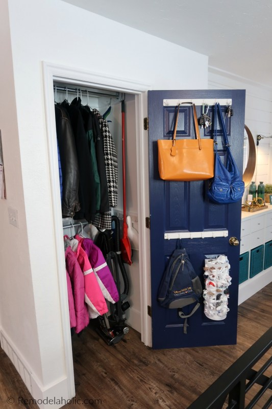Decluttered Organized Front Entryway Closet As A Coat Closet, Cleaning Closet, Broom Closet, With Storage For Coats, Vacuum, Broom, Mop, Tools, Purses, Backpacks, And More #remodelaholic