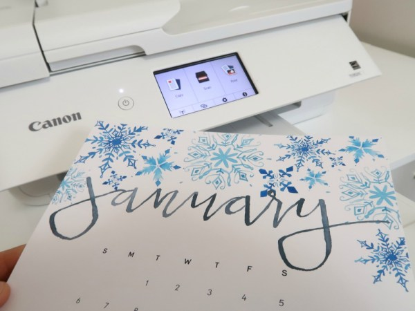 Handlettered Watercolor Calendar Printable, Printed On Canon TS9521C Printer #remodelaholic