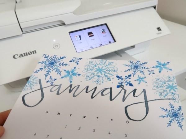 Handlettered Watercolor Calendar Printable, Printed On Canon TS9521C Printer #remodelaholic