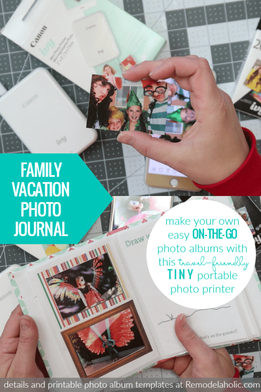 Make An Easy Family Vacation Photo Album With On The Go Photo Printing And This Tiny Travel Friendly Portable Photo Printer #remodelaholic #CraftywithCanon