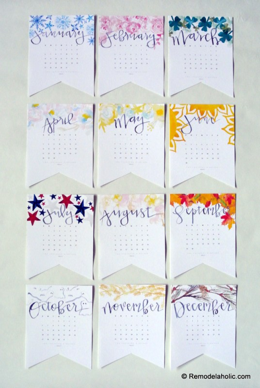 Printable Colorful 2019 Handlettered Watercolor Calendar In 3 Sizes Digital Download #remodelaholic