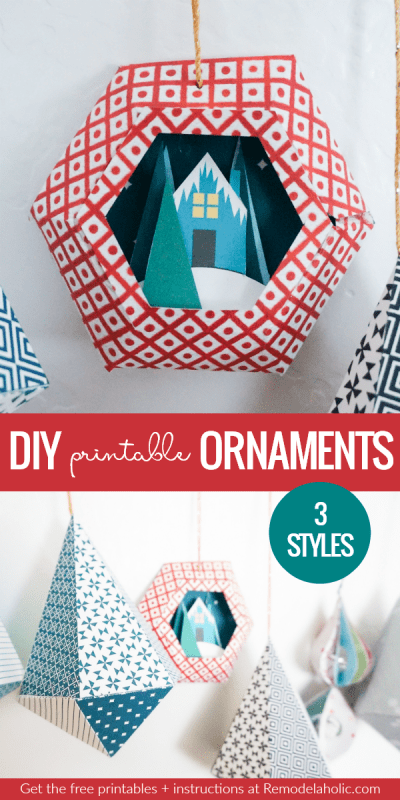 Print your own 3D geometric paper ornaments to decorate for Christmas! From geometric snowglobe scenes to rounded twirlying baubles to dangling diamonds, these folded paper ornament templates are an easy holiday craft. #remodelaholic #CraftywithCanon