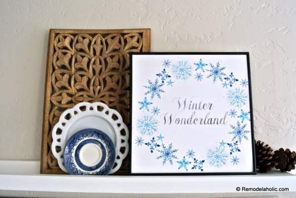 Printable Seasonal Art Set For Easy Home Decor Blue Snowflake Winter Wonderland #remodelaholic
