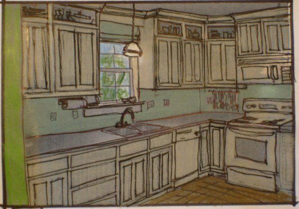 Downing House Kitchen Cabinets To Ceiling Rendering Sketch #remodelaholic
