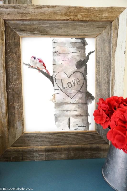 Printable All Season Love Valentine's Day Decor Watercolor Love Birds In A Carved Birch Tree #Remodelaholic