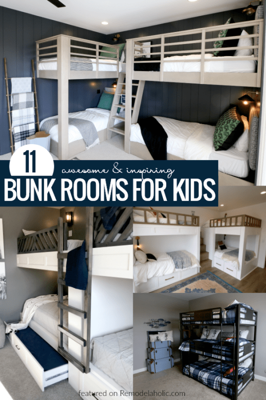11 Awesome And Inspiring Bunk Rooms For Kids #remodelaholic