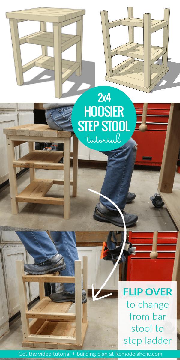 DIY 2x4 Bar Stool And Step Ladder Combo Hoosier Step Stool Building Plan #remodelaholic