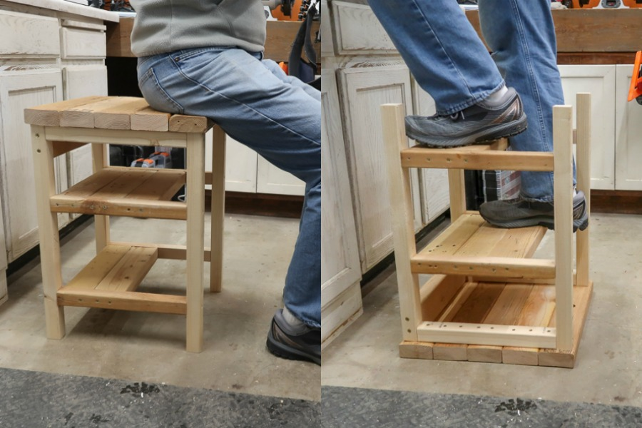 Marvelous Remodelaholic Build A Flip Over 2X4 Bar Stool Step Ladder Ibusinesslaw Wood Chair Design Ideas Ibusinesslaworg