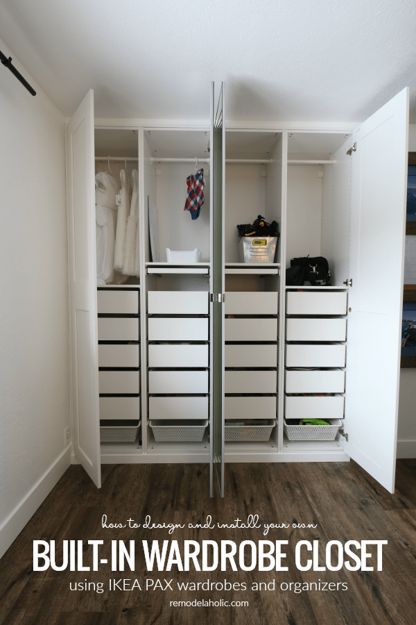 how to design and install your own space-saving built-in wardrobe closet using IKEA PAX wardrobes and organizers #remodelaholic