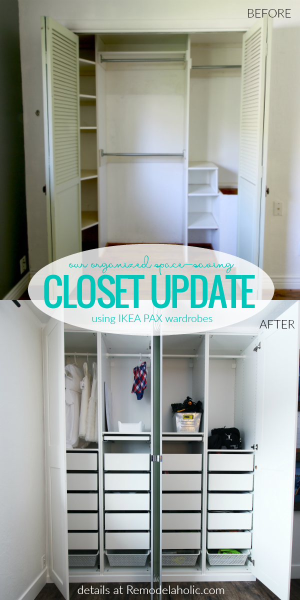 how to update an old closet and add drawers and storage space with IKEA closet organizer, PAX wardrobes #remodelaholic
