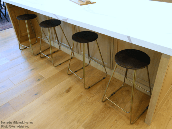 Simple Modern Wood And Metal Barstools In Farmhouse Kitchen Millhaven Homes And Four Chairs Design 2018 Utah Valley Parade Of Homes Featured On Remodelaholic