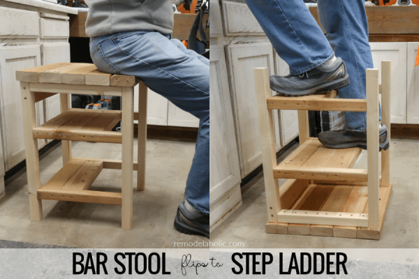 Build A Hoosier Step Stool DIY Bar Stool Step Ladder Combo Using 2x4s #remodelaholic