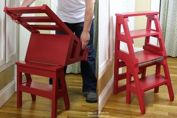 Building Plan Diy Ladder Chair Stepstool Inspired By Benjamin Franklin #remodelaholic