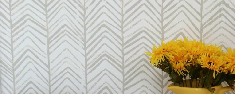 DIY Hand-Stamped Herringbone Accent Wall