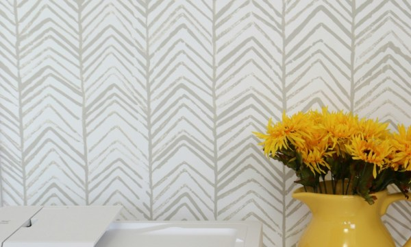 Diy Hand Stamped Herringbone Accent Wall #remodelaholic