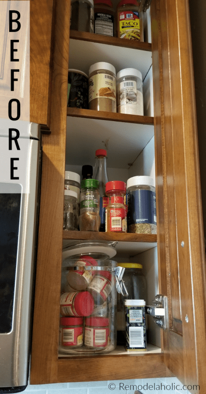 Organized Spice Cupboard Makeover To A Wall Mounted Wire Spice Rack, Modern Farmhouse Style #remodelaholic