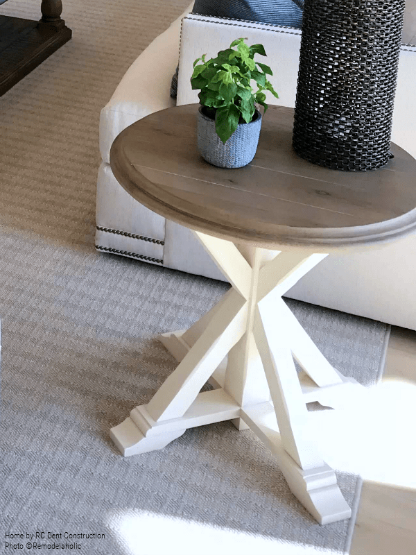 Wooden Top Round Side Table With Angled Legs RC Dent Construction And Remedy Design 2018 Utah Valley Parade Of Homes Featured On Remodelaholic
