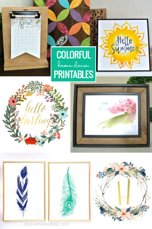 Colorful Printables For Home Decor, Spring Mantel, Year Round Decorating Instant Digital Download #remodelaholic