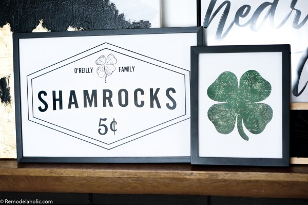 Customized Shamrocks For Sale Sign And Distressed Green Clover Printable Art For St Patricks Day #remodelaholic