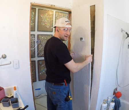 Cutting Drywall For Built In In Wall Shelving, Smooth Drywall Finish Over Existing Wall Texture #remodelaholic