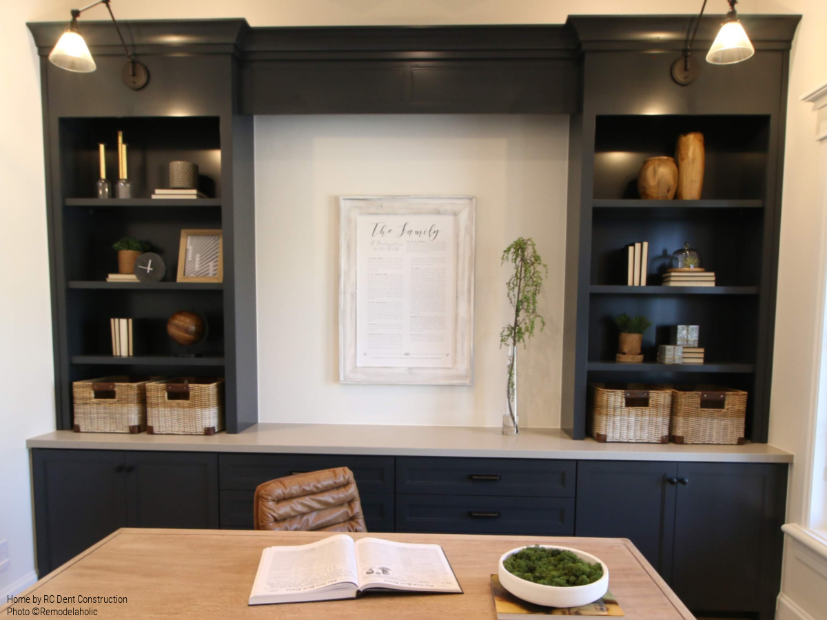 How To Decorate Home Office Built In Shelving RC Dent Construction And  Remedy Furniture And Design