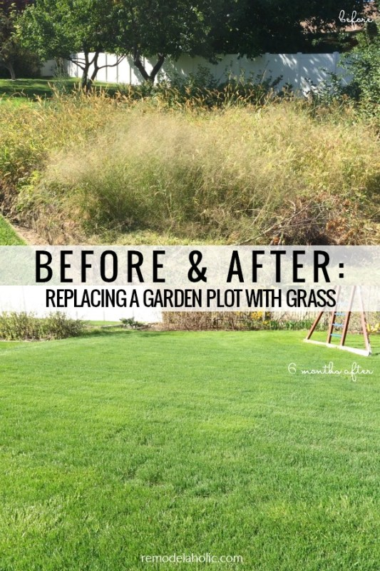 Before and After, Replacing A Garden Plot With Grass, DIY Sod Installation Tips #remodelaholic