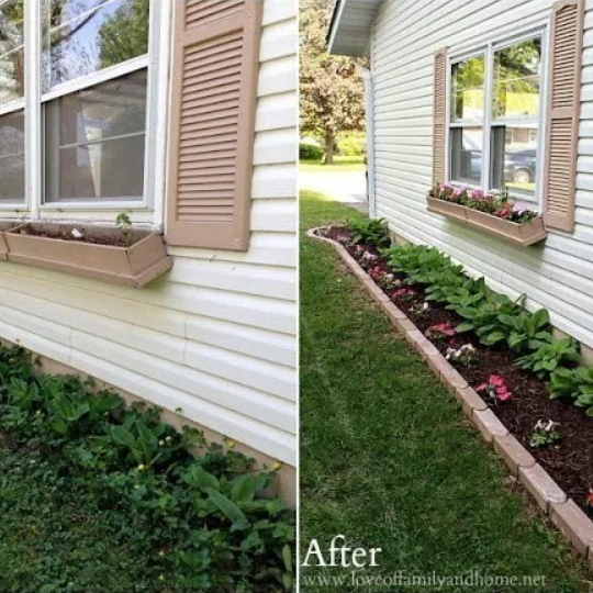 Before And After Of Flower Beds Lining Side Of House With And Without Brick Edging