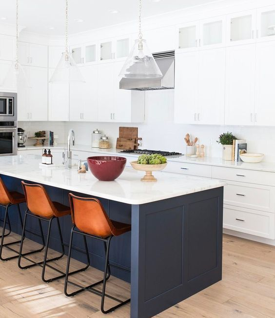 White Kitchen With Blue Bar Base And Brown Tall Bar Chairs