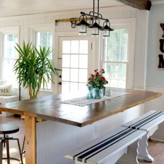 Wood Kitchen Counter With White Chiplap Base And Benches