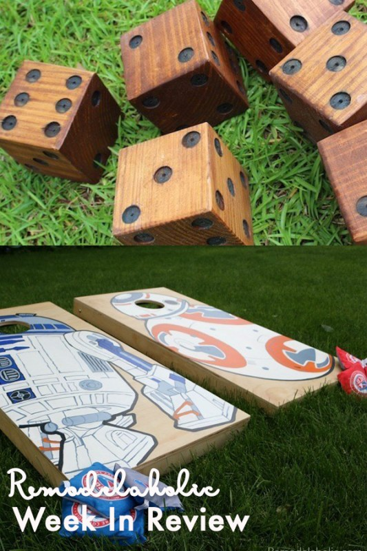 Yard Game Collage Showing Wooden Yard Dice And DIY Star Wars Character Corn Hole