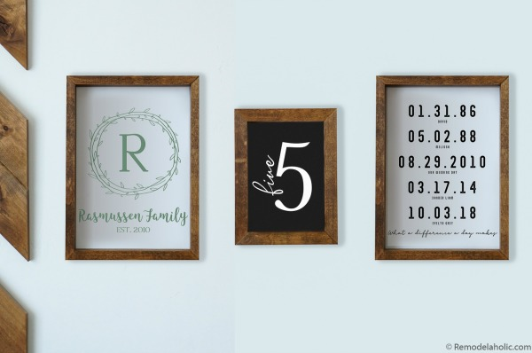 DIY Wall Decor Ideas: Family Gallery Wall Bundle Family Name Monogram, Number, Important Dates #remodelaholic