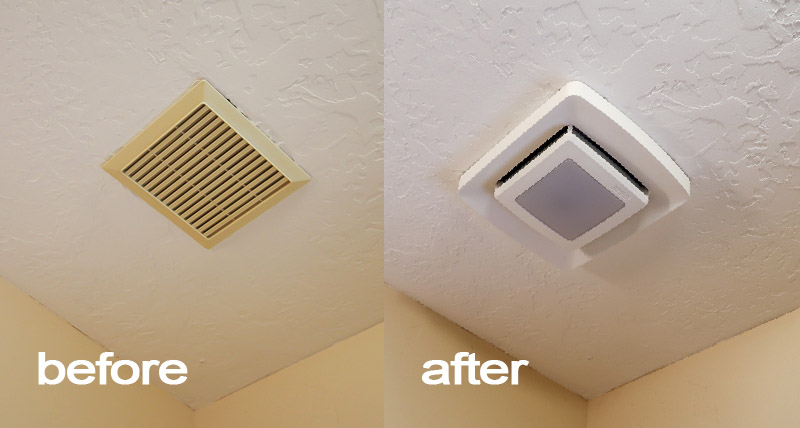Broan FG500N LED upgrade for ventilation fan Before And After
