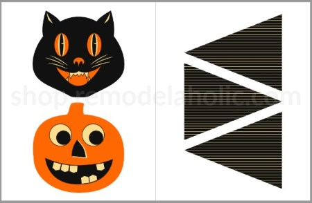 Retro Halloween Bunting Printable Garland Preview Remodelaholic