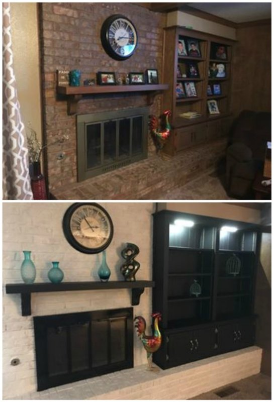 Before And After Of A Brick Fireplace Makeover, Before Brown Brick, After White Brick