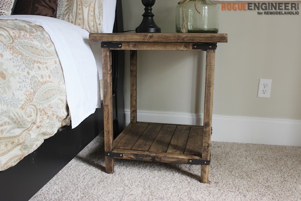 Rustic Square Wooden Bedside Table