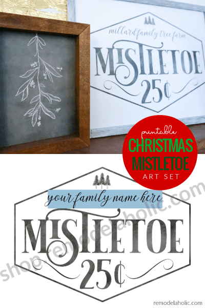 Printable Christmas Mistletoe Art Set With Custom Family Name And Chalkboard Mistletoe Drawing #remodelaholic #instantdownload