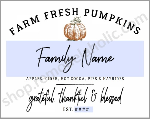 Printable Family Name Pumpkin Patch Sign #remodelaholic