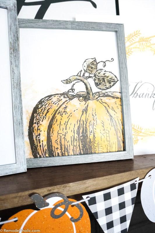 Printable Watercolor Pumpkin Art #remodelaholic