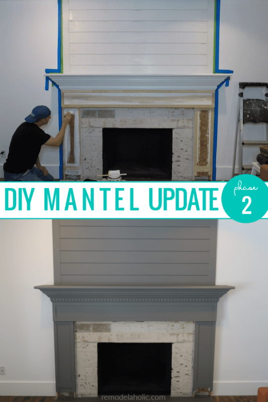 DIY Mantel Update, Rebuild And Paint A Wood Fireplace Mantel Gray #remodelaholic