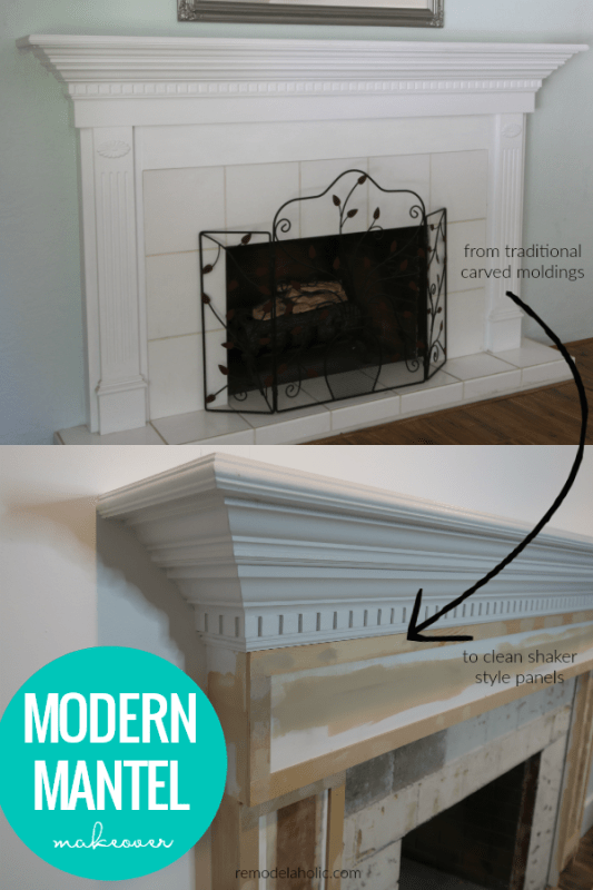 DIY Modern Mantel Makeover, Updating From Carved Molding To Flat Shaker Trim #remodelaholic