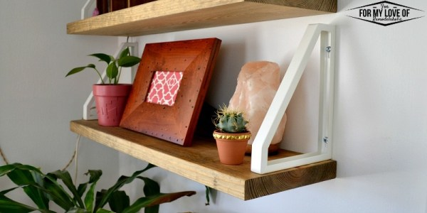 Stained Wooden Shelves With White IKEA Lerberg Bracket Hack, Reversed