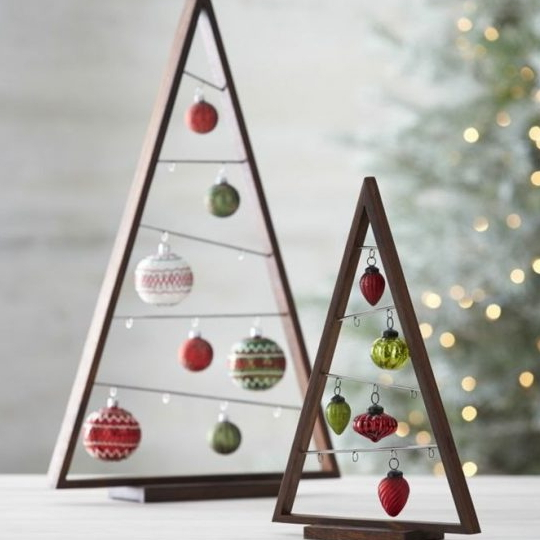 Wooden Triangle With Hanging Ornaments, DIY Ornament Display Tree