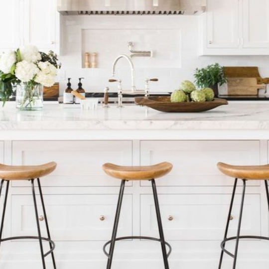 White Kitchen With Barstools With Metal Base And Wood Seat