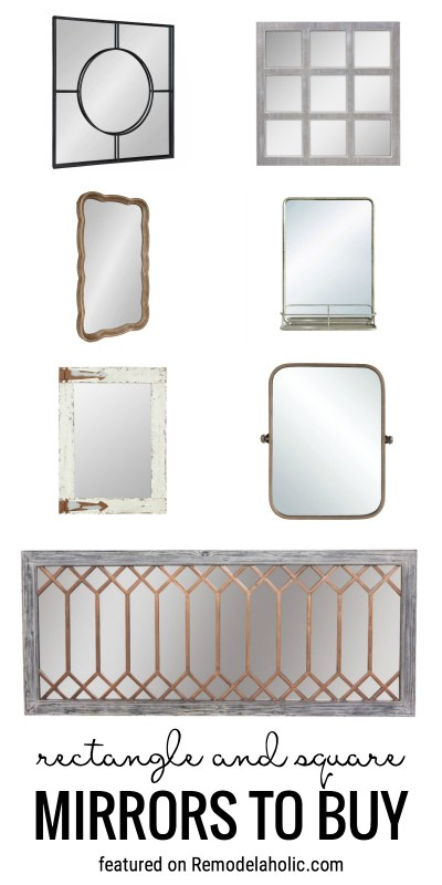 Decorate Your Home With Mirrors! Use Rectangle And Square Shaped Mirrors Above A Fireplace Or In A Bathroom. Rectangle And Square Mirrors To Buy Featured On Remodelaholic.com