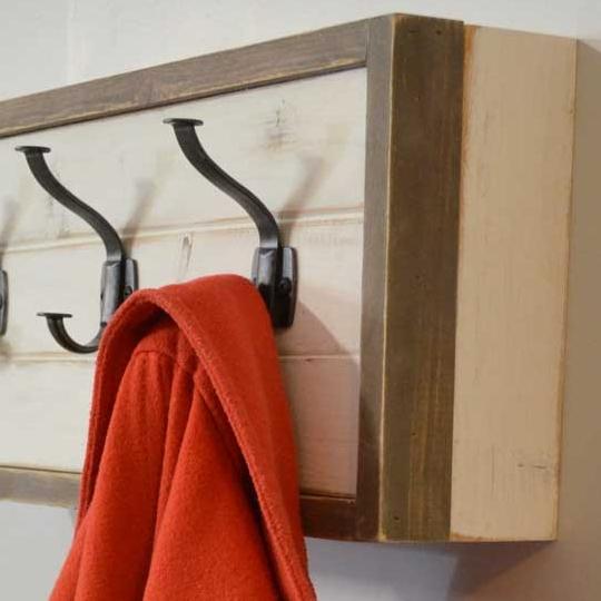 Wooden Wall Coat Rack With Hidden Storage